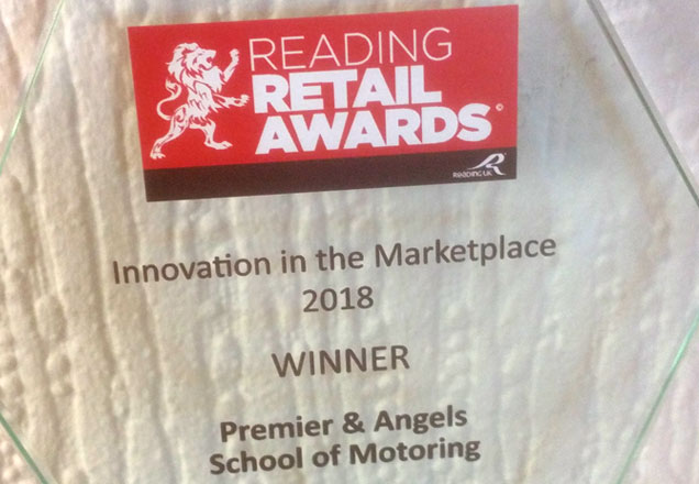 Premier & Angels - Winners of Innovation in the Marketplace at the Reading Retails Awards 2018 - Trophy